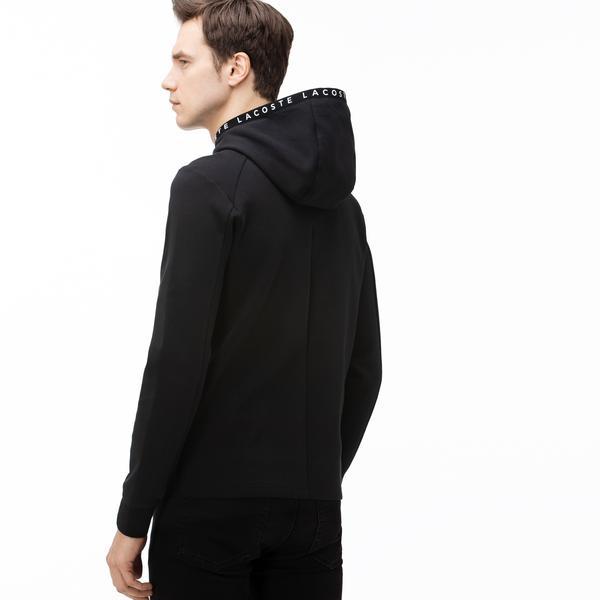 Lacoste Erkek Baskılı Kapüşonlu Siyah Sweatshirt