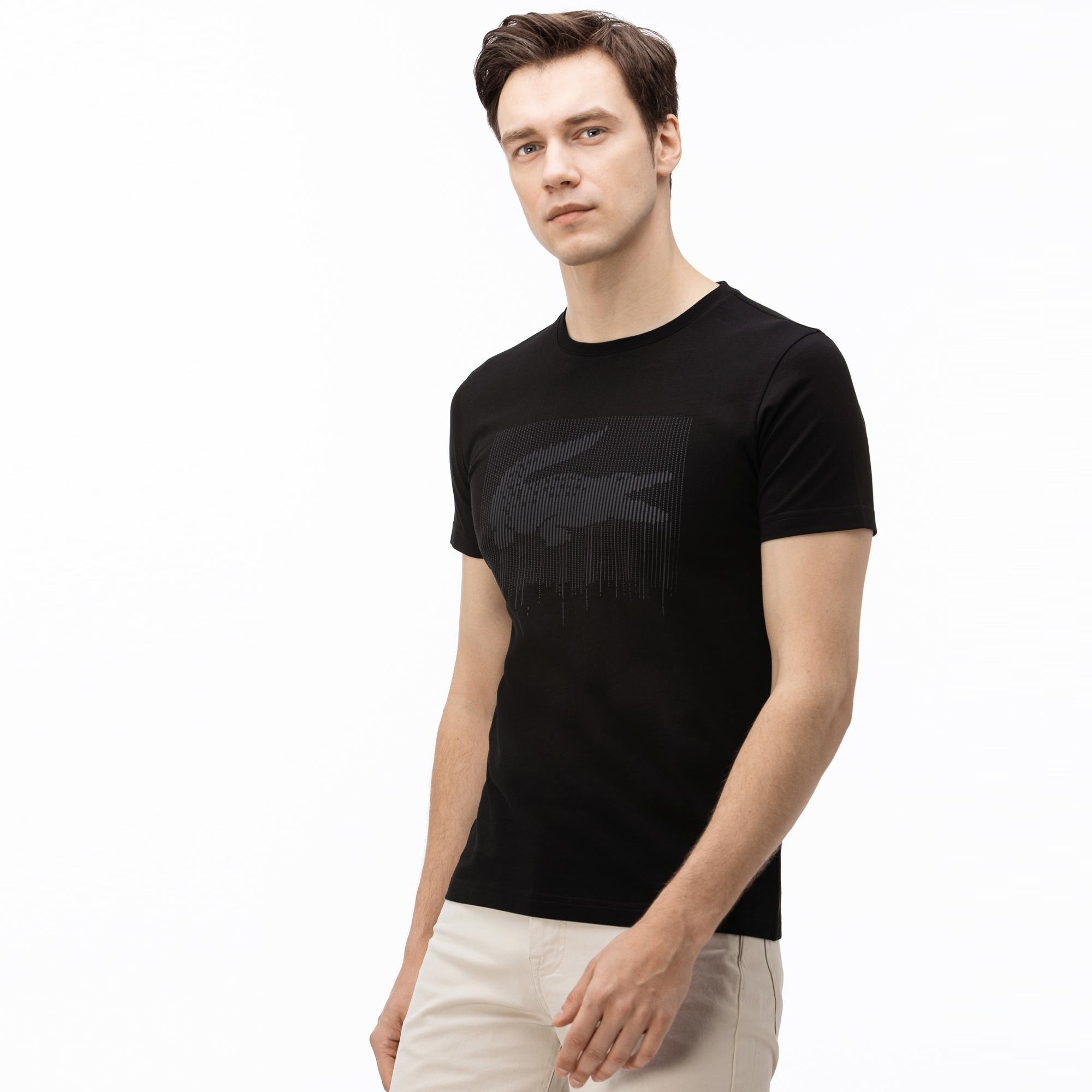 Lacoste Erkek Bisiklet Yaka Timsah Baskılı Gri T-Shirt