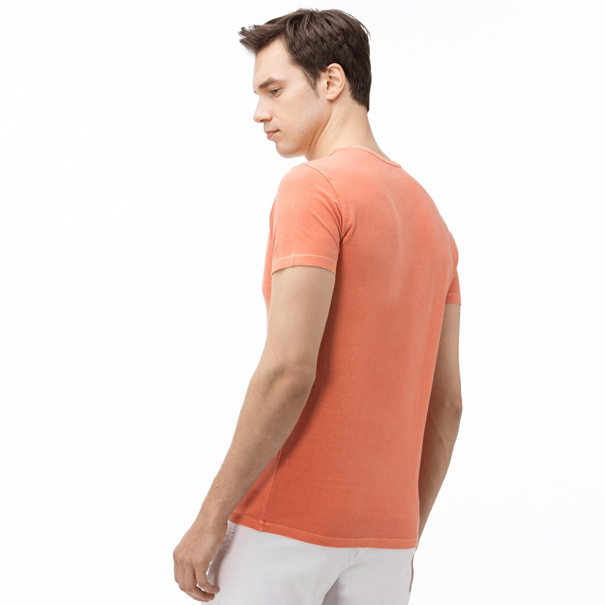 Lacoste Erkek V Yaka Açık Pembe T-Shirt