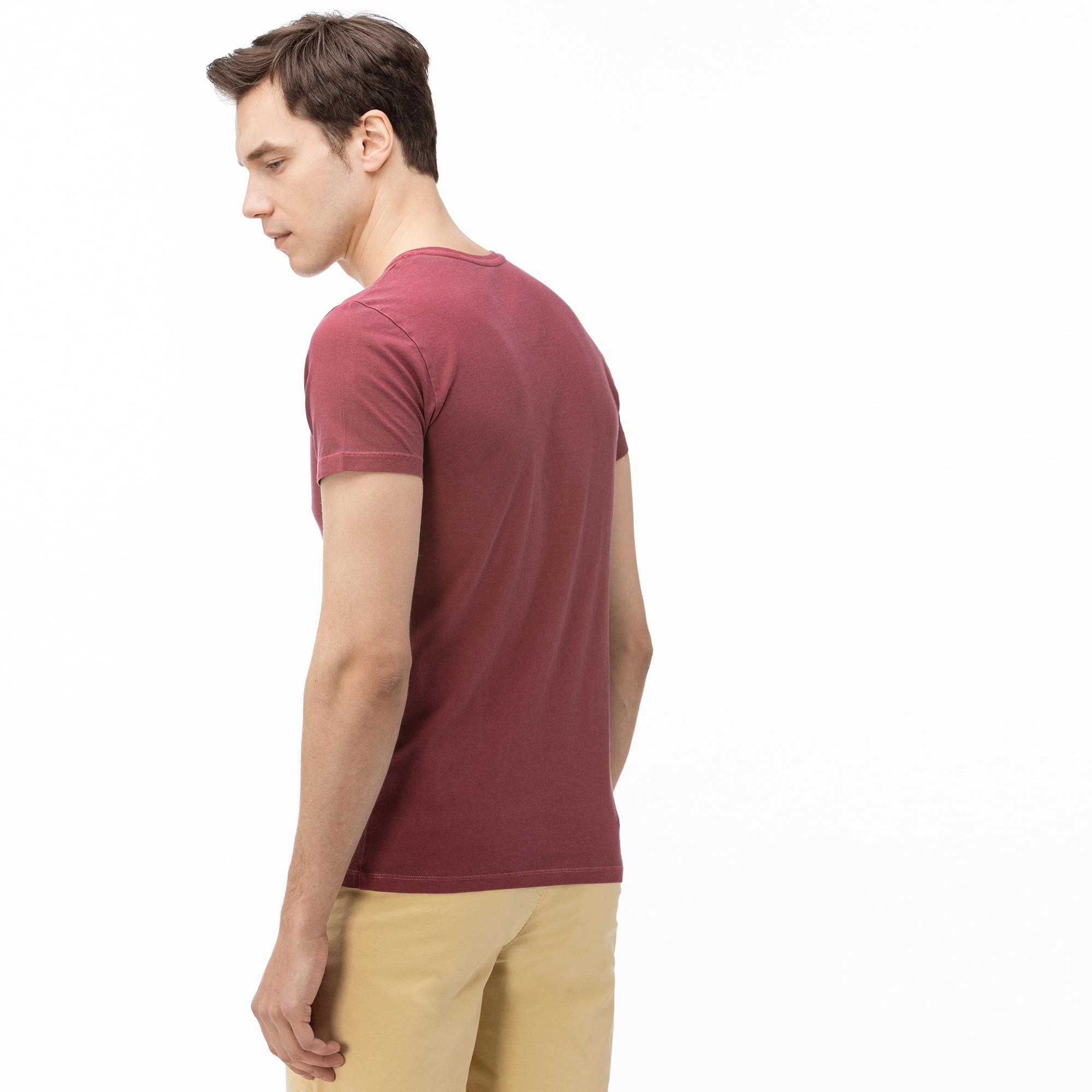 Lacoste Erkek V Yaka Bordo T-Shirt