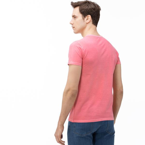 Lacoste Erkek V Yaka Pembe T-Shirt