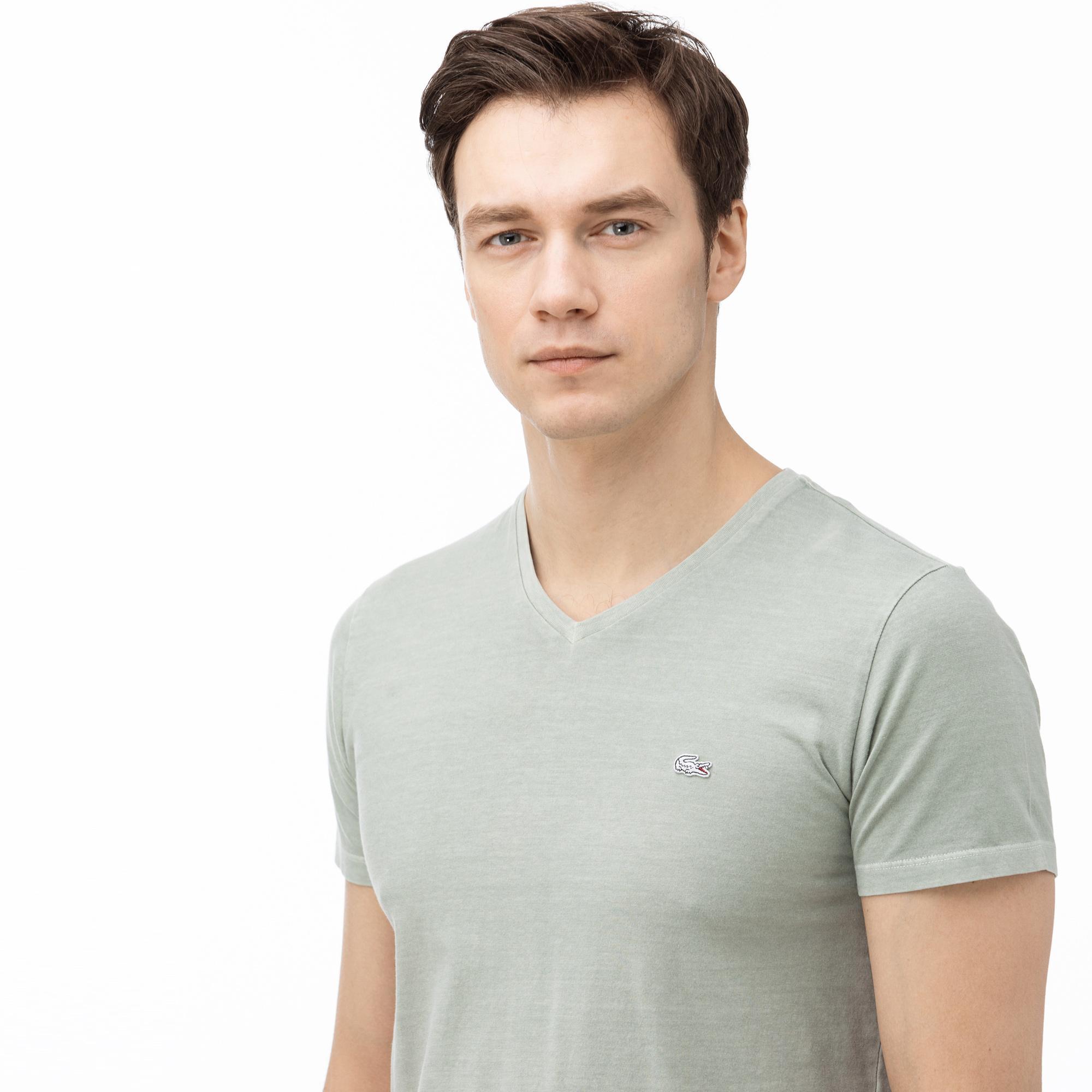 Lacoste Erkek V Yaka Açık Yeşil T-Shirt