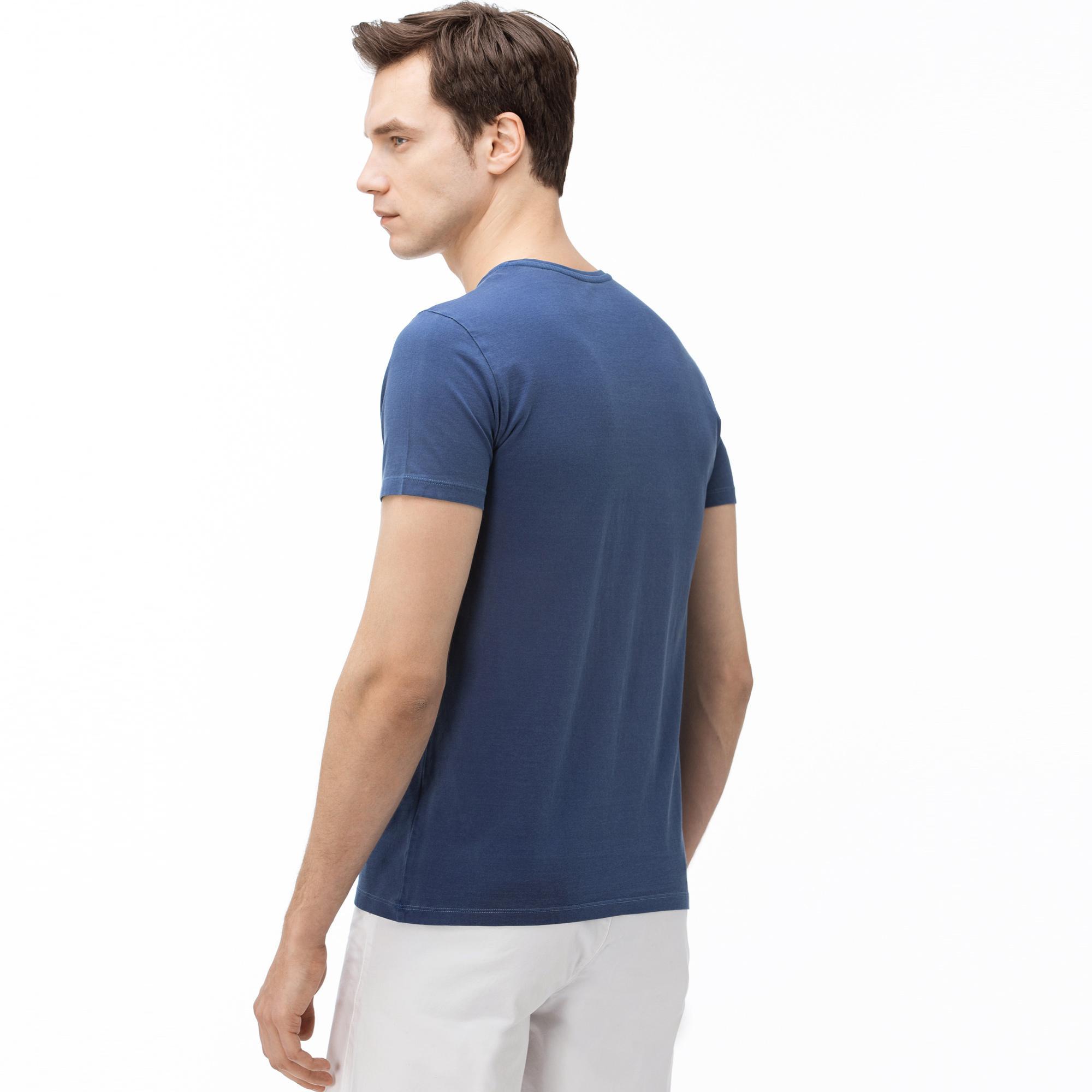 Lacoste Erkek V Yaka Saks Mavi T-Shirt