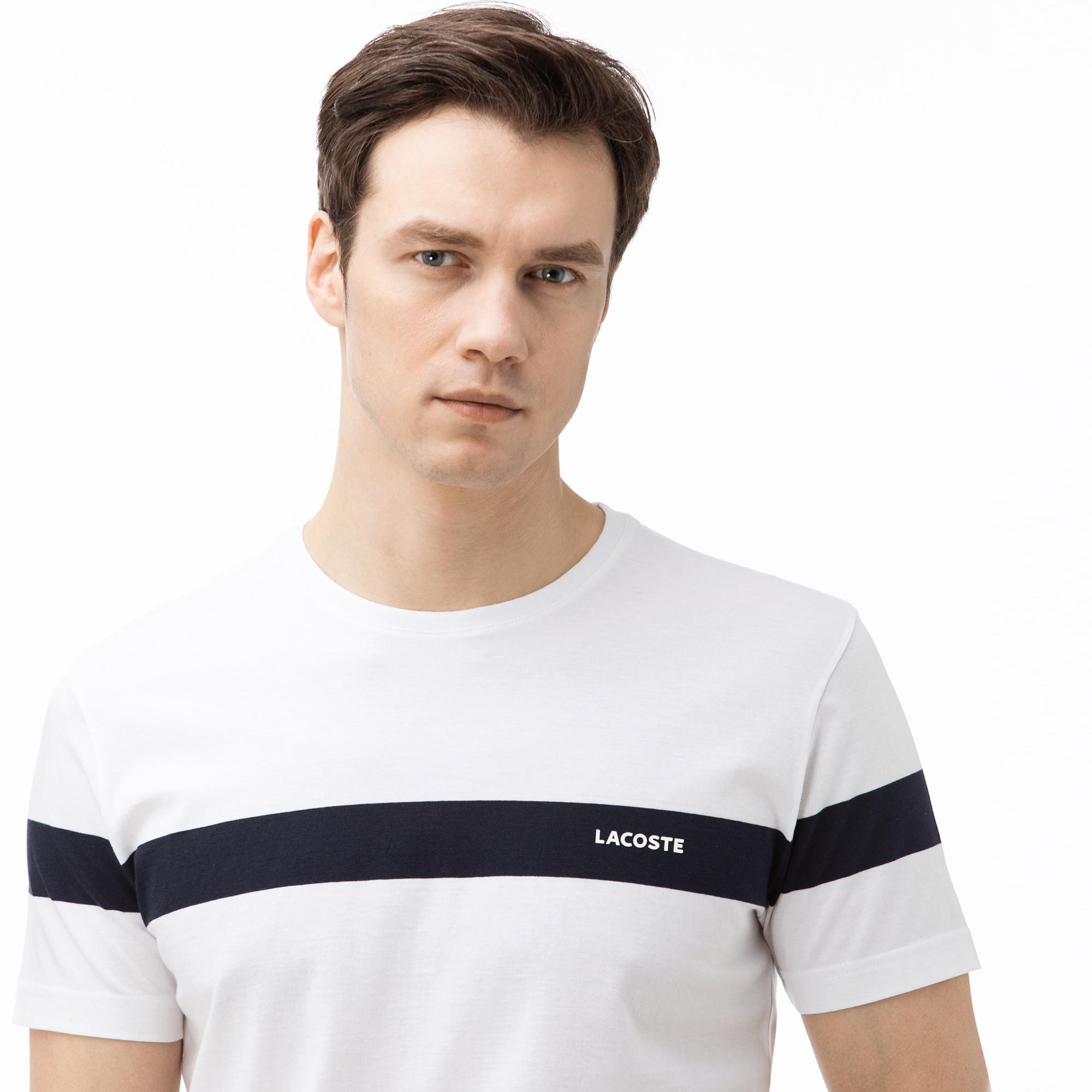 Lacoste Erkek Bisiklet Yaka Çizgili Beyaz T-Shirt
