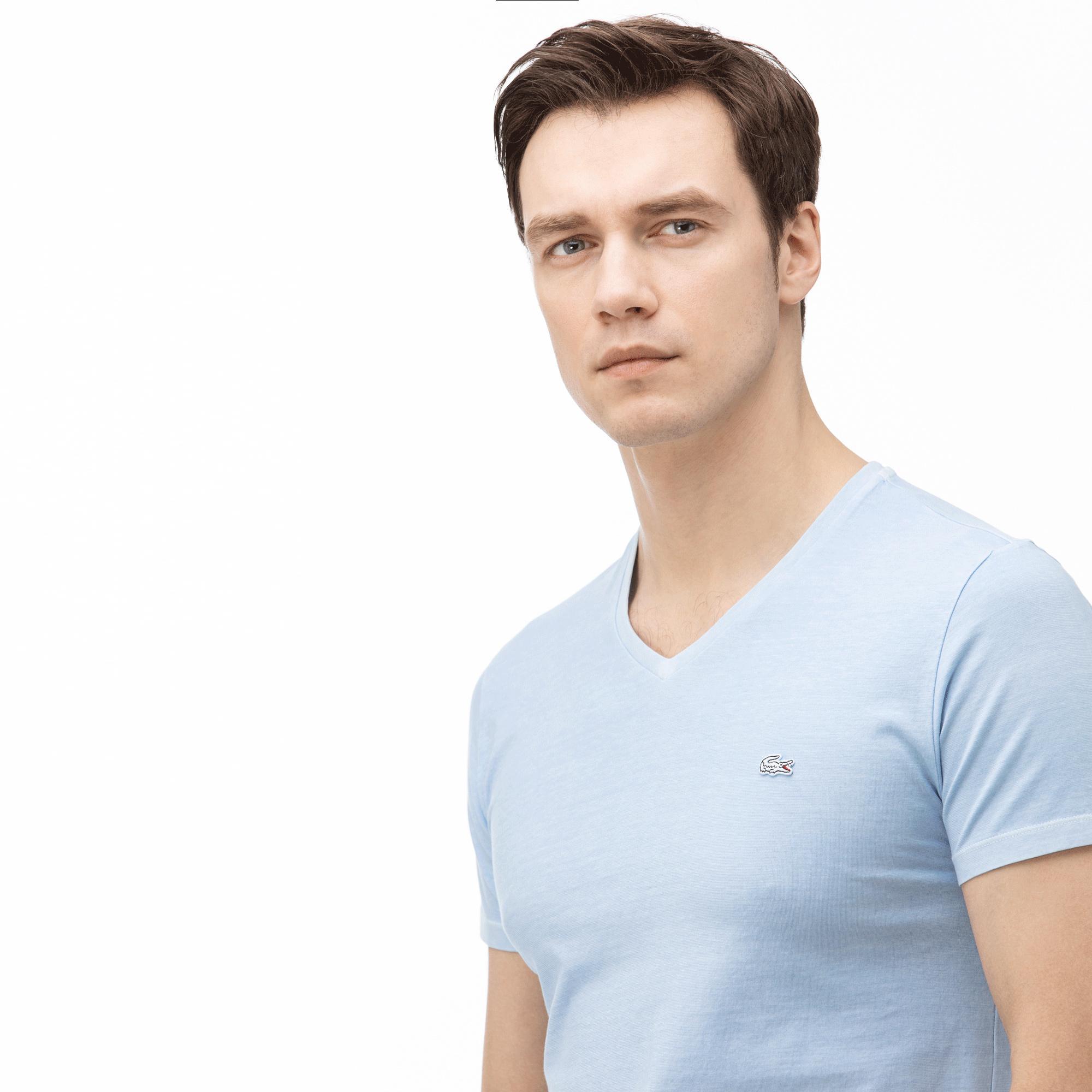 Lacoste Erkek V Yaka Açık Mavi T-Shirt