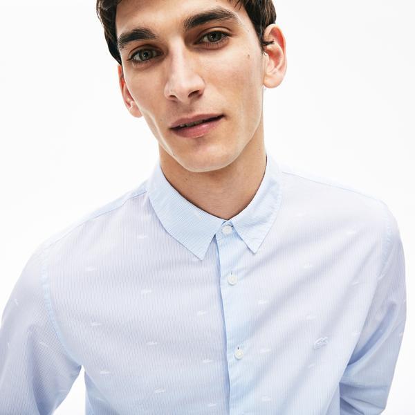 Lacoste Erkek Regular Fit Düğmeli Yaka Çizgili Mavi Gömlek