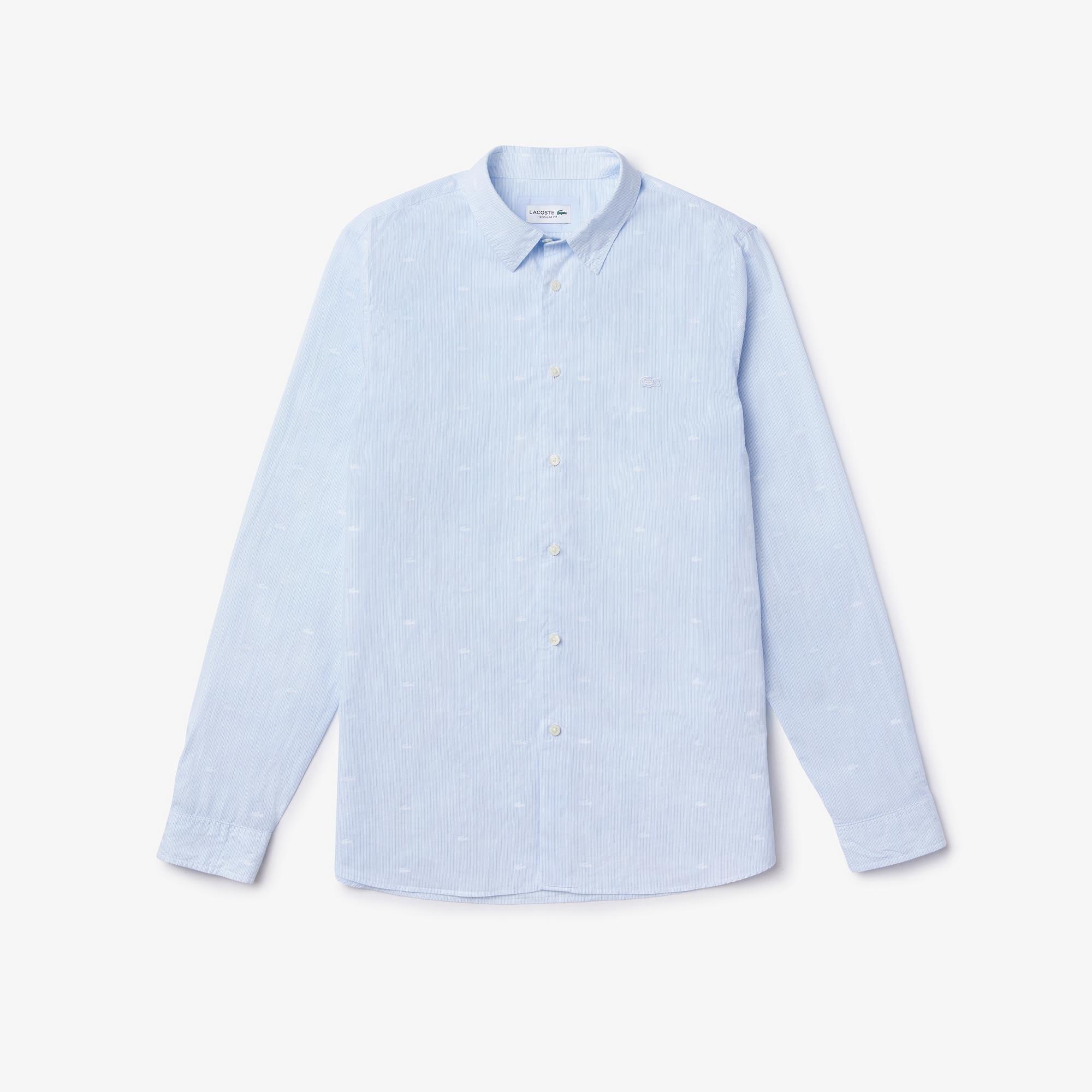 Lacoste Erkek Regular Fit Düğmeli Yaka Timsah Desenli Mavi Gömlek