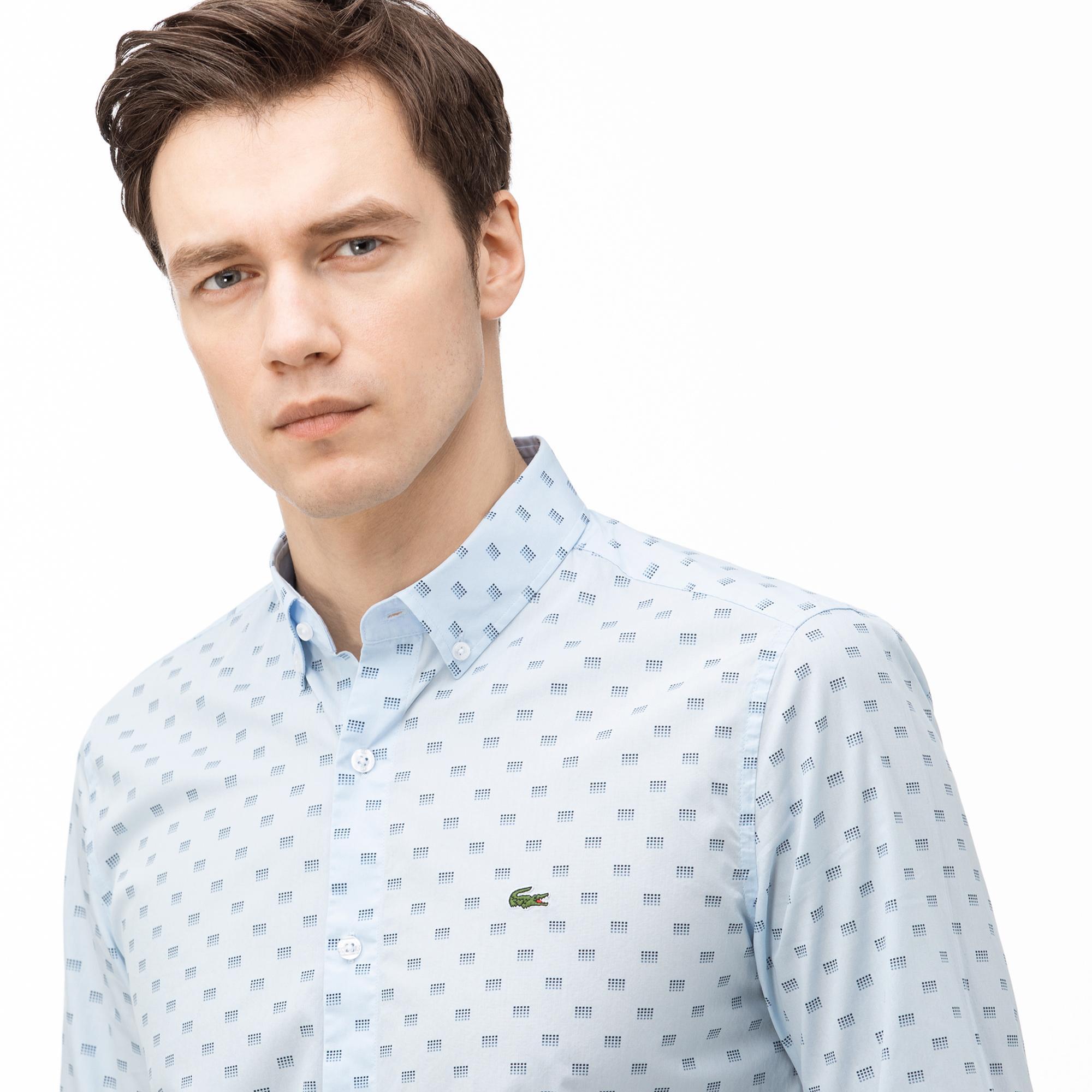 Lacoste Erkek Slim Fit Düğmeli Yaka Desenli Açık Mavi Gömlek
