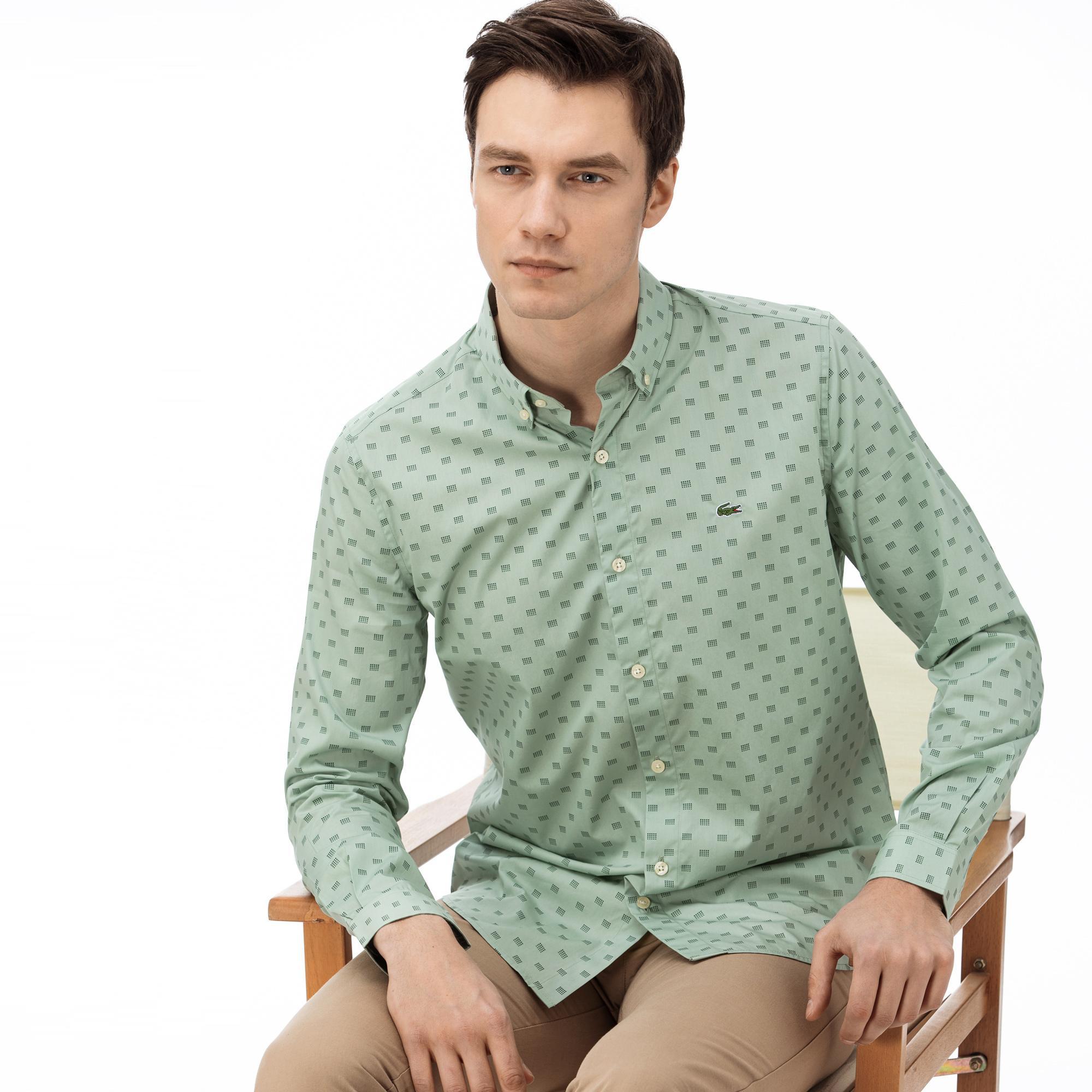 Lacoste Erkek Slim Fit Düğmeli Yaka Desenli Haki Gömlek