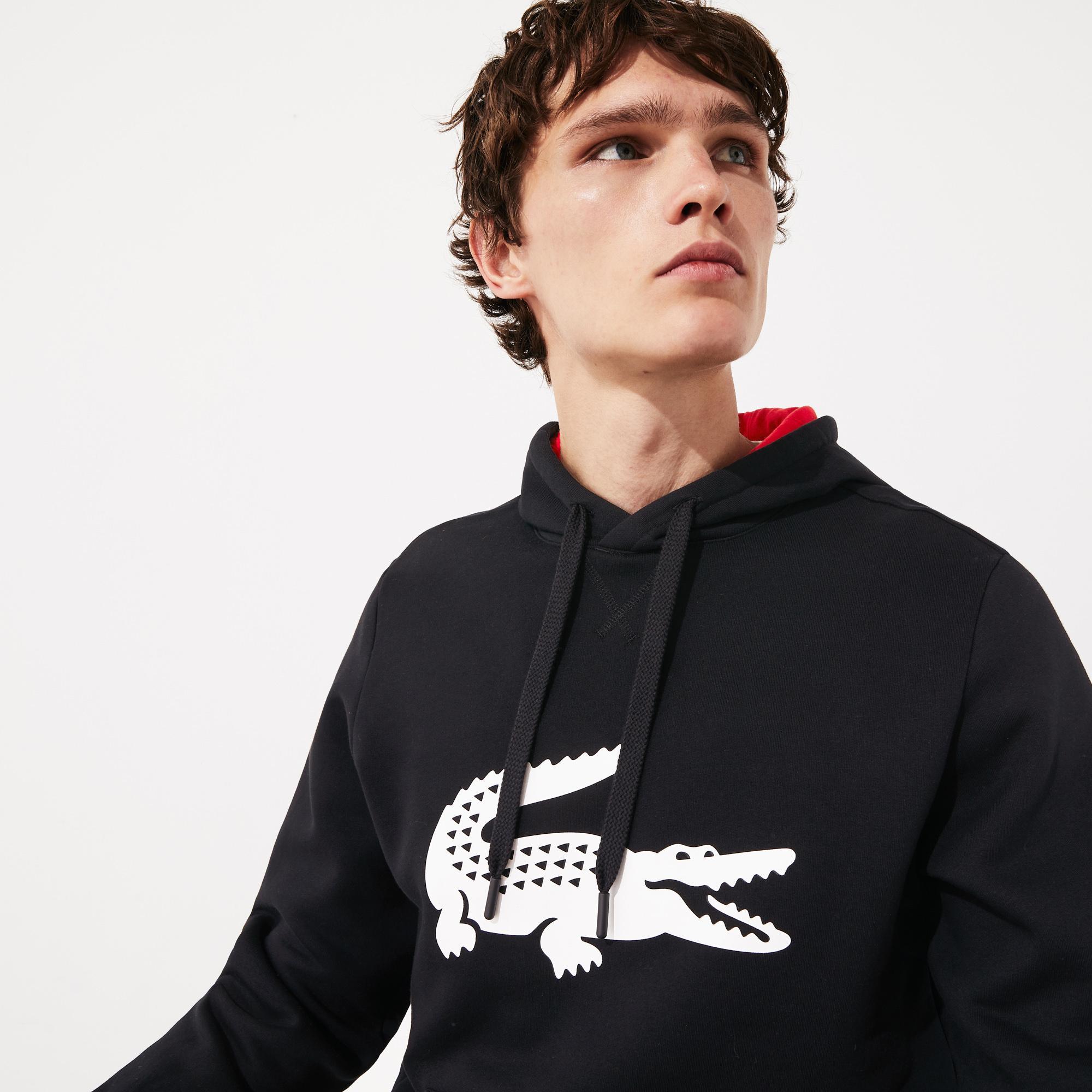 Lacoste Sport Erkek Kapüşonlu Timsah Baskılı Siyah Sweatshirt