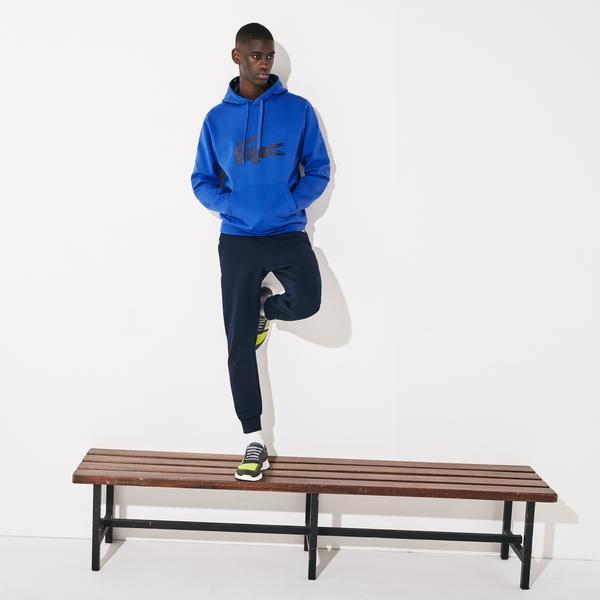 Lacoste Sport Erkek Kapüşonlu Timsah Baskılı Saks Mavi Sweatshirt