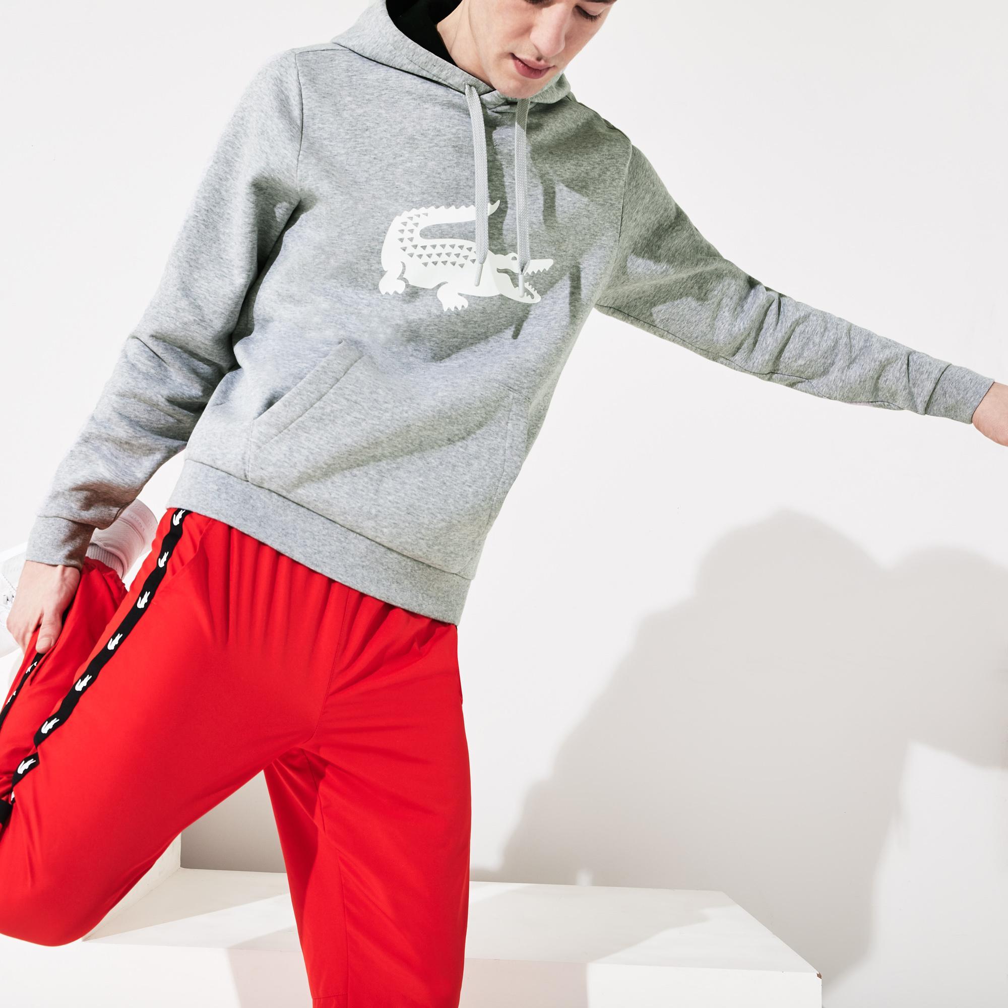 Lacoste Sport Erkek Kapüşonlu Timsah Baskılı Gri Sweatshirt