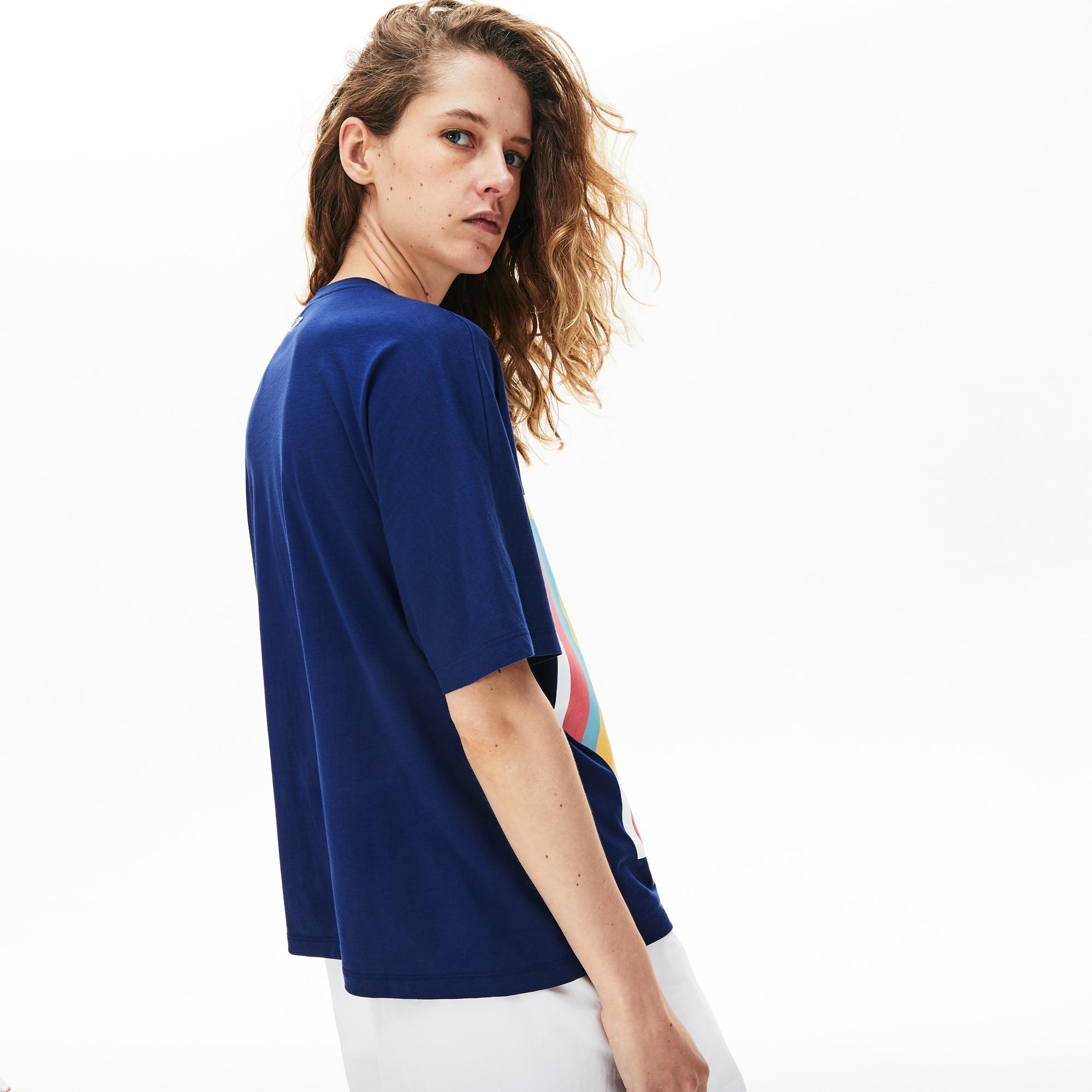 Lacoste Kadın Bisiklet Yaka Desenli Saks Mavi T-Shirt