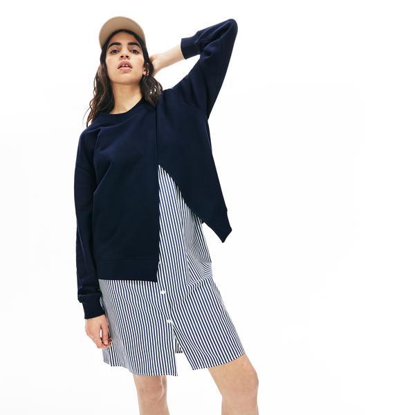 Lacoste L!VE Kadın Çift Kullanımlı Çizgili Lacivert Sweatshirt Elbise