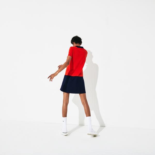 Lacoste Sport Kadın Polo Yaka Blok Desenli Kısa Kollu Renkli Elbise