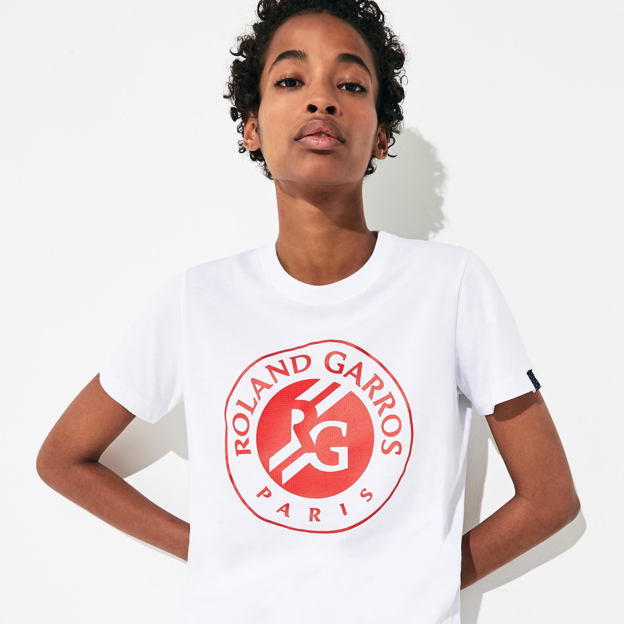 Lacoste Sport Kadın Bisiklet Yaka Baskılı Beyaz T-Shirt