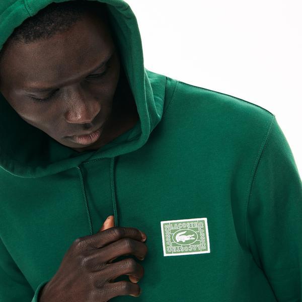 Lacoste Erkek Kapüşonlu Timsah Baskılı Yeşil Sweatshirt