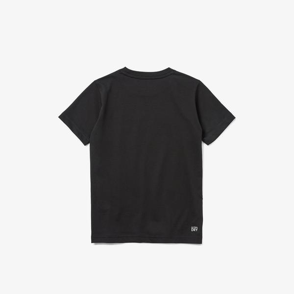 Lacoste Sport Çocuk Bisiklet Yaka Baskılı Siyah T-Shirt