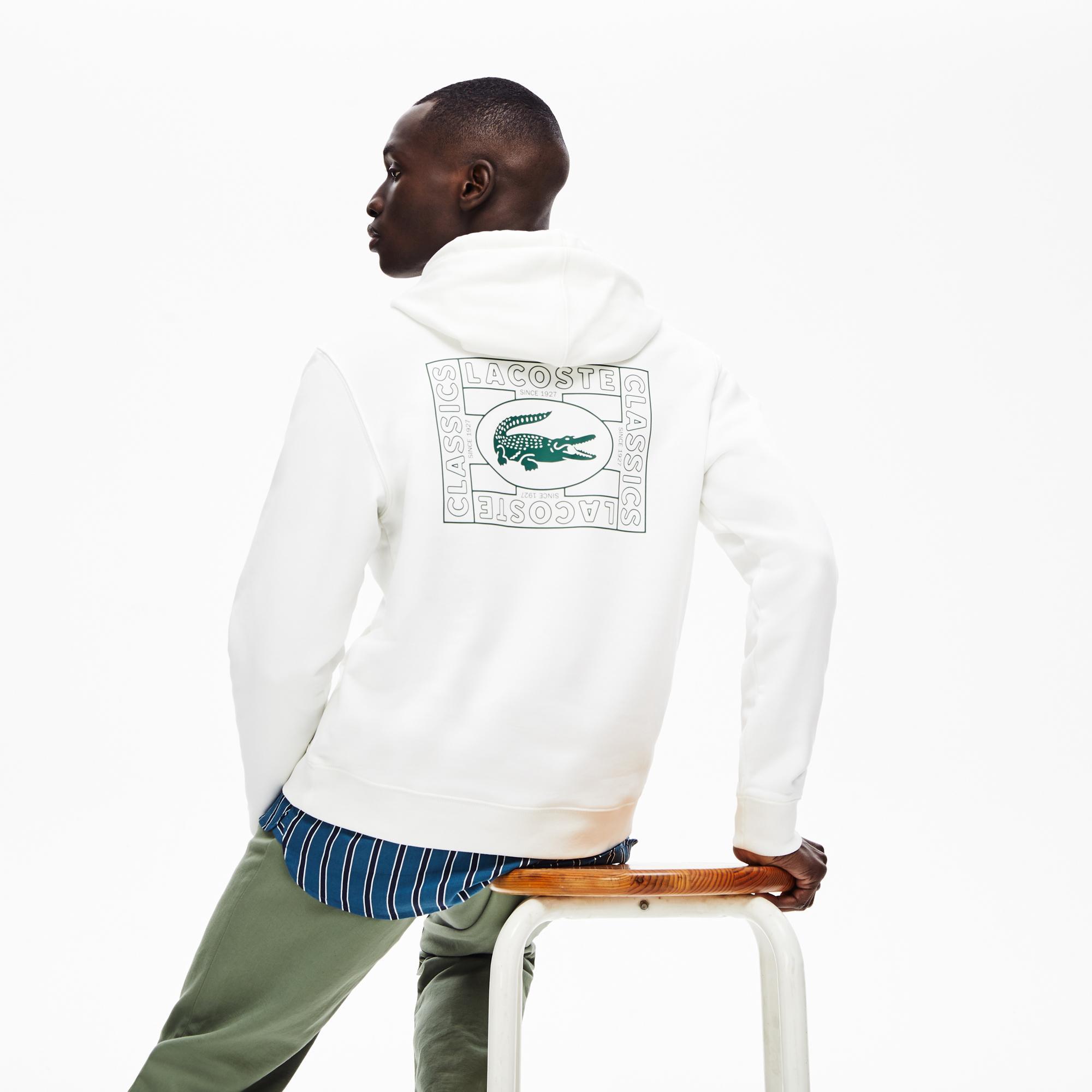 Lacoste Erkek Kapüşonlu Timsah Baskılı Beyaz Sweatshirt