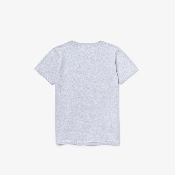 Lacoste Sport Çocuk Bisiklet Yaka Baskılı Gri T-Shirt