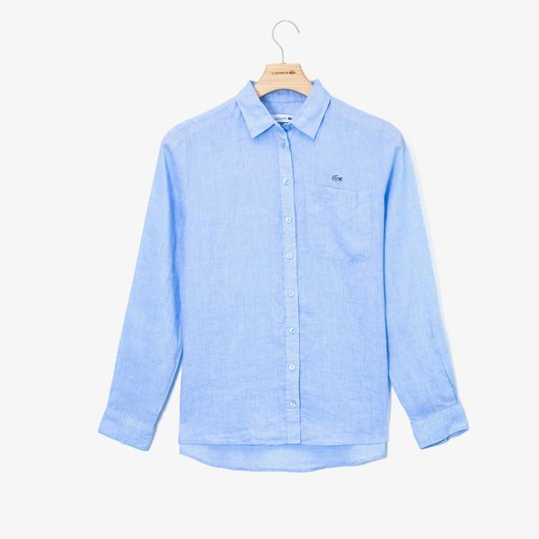 Lacoste Kadın Açık Mavi Keten Gömlek
