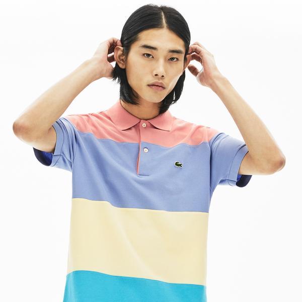 Lacoste Erkek Klasik Fit Blok Desenli Renkli Polo