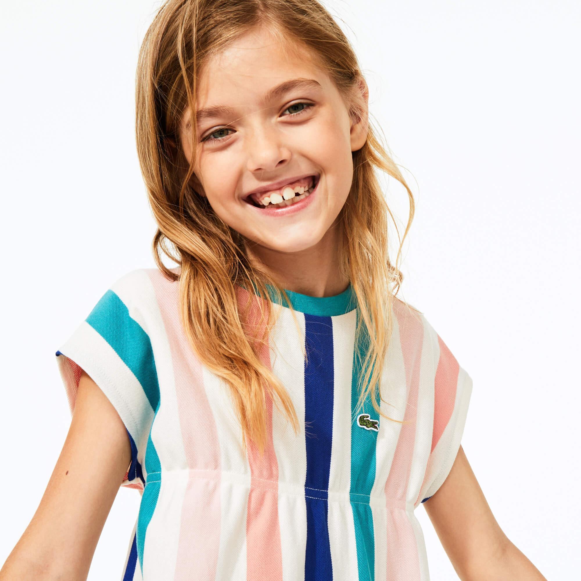 Lacoste Çocuk Bisiklet Yaka Çizgili Kısa Kollu Renkli Elbise