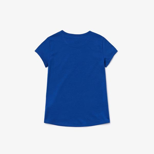 Lacoste Çocuk Bisiklet Yaka Desenli Saks Mavi T-Shirt