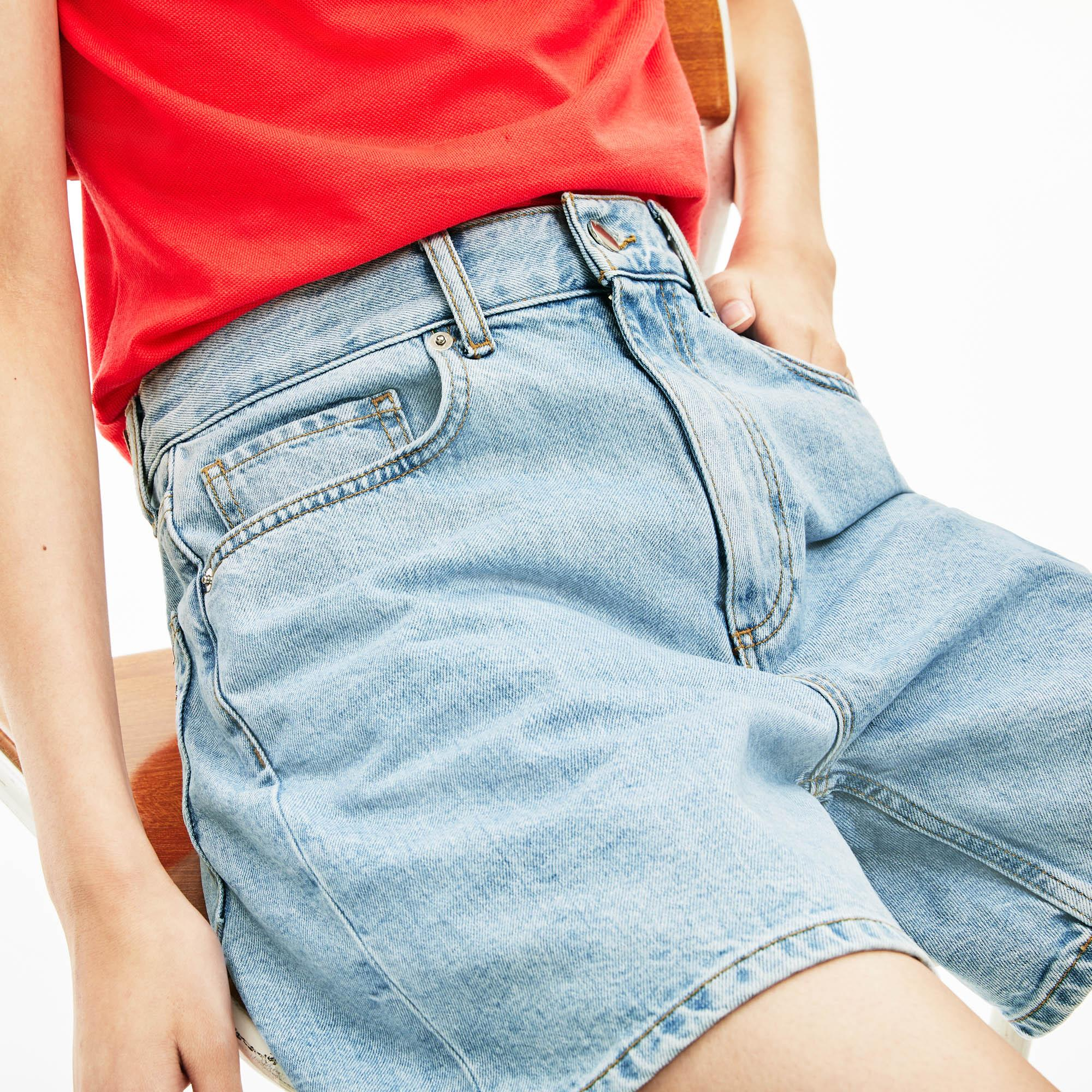 Lacoste Women's Relaxed Fit Japanese Cotton Jean Shorts