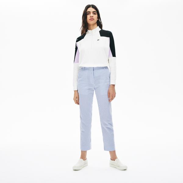 Lacoste Kadın Çizgili Mavi Pantolon