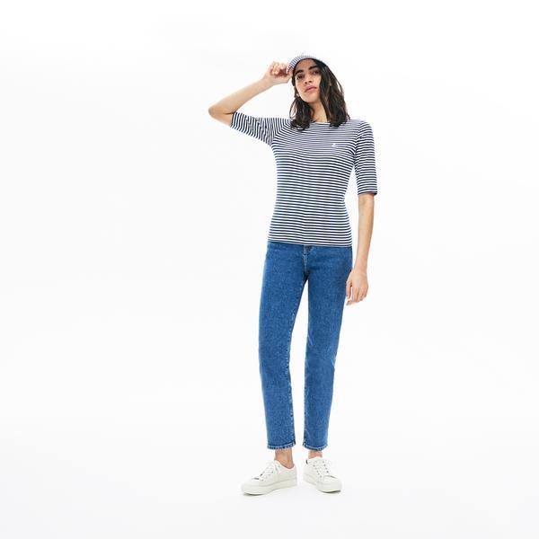 Lacoste L!VE Kadın Kayık Yaka Çizgili Truvakar Kollu Lacivert - Beyaz T-Shirt