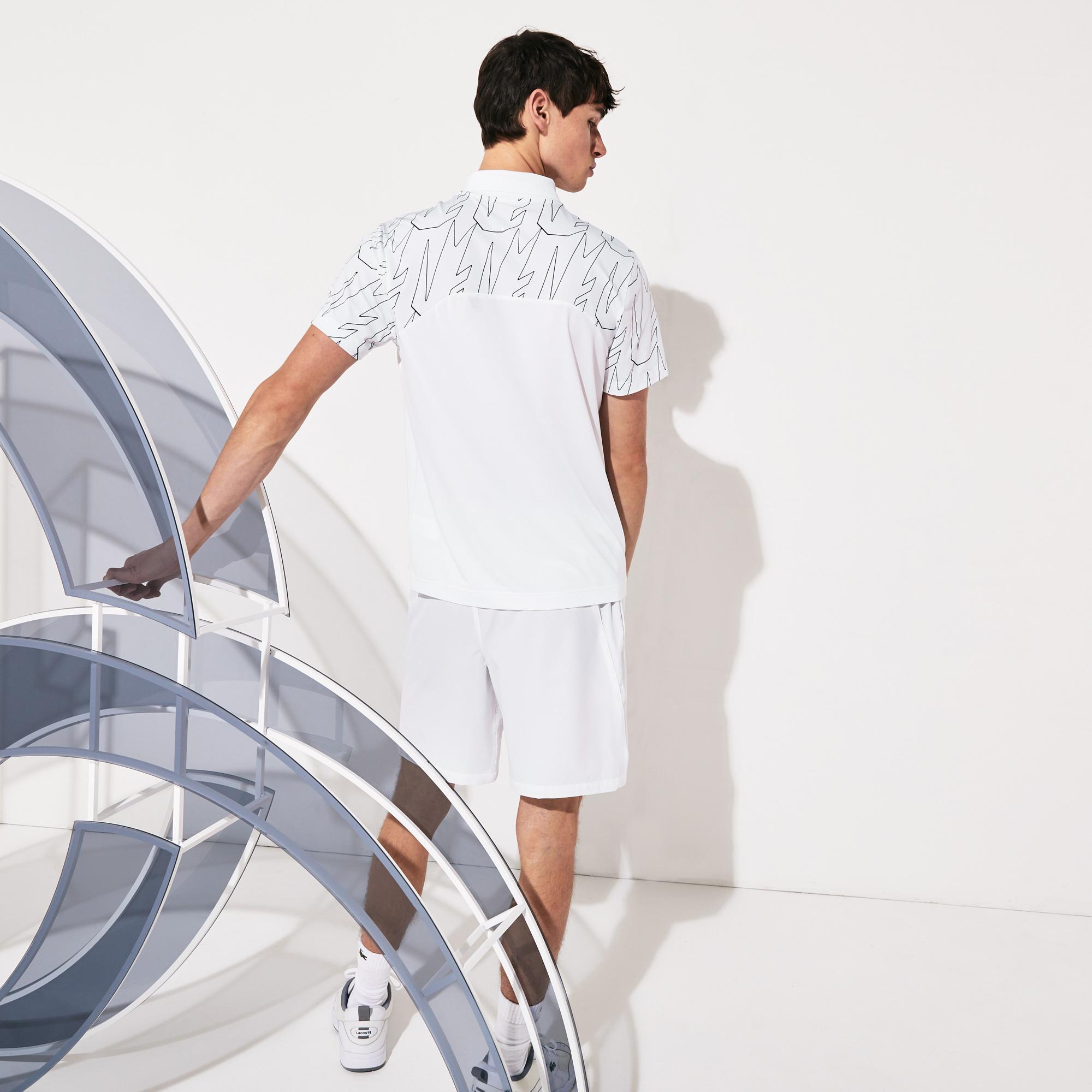 Lacoste Sport Erkek Desenli Beyaz - Lacivert Polo
