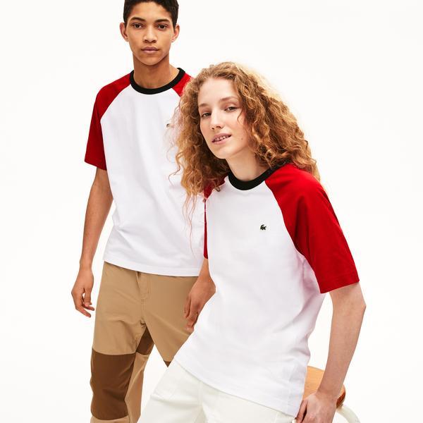 Lacoste L!VE Unisex Bisiklet Yaka Blok Desenli Beyaz - Kırmızı T-Shirt