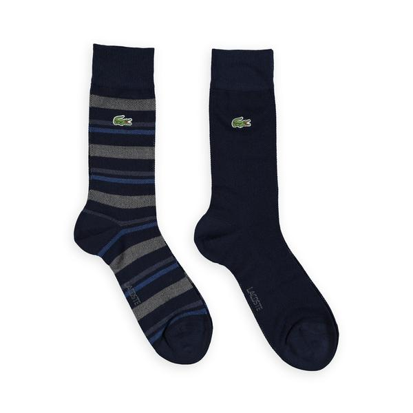 Lacoste Unisex Çizgili 2'li Lacivert Çorap