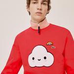 Lacoste X FriendsWithYou Unisex Bisiklet Yaka Desenli Kırmızı Sweatshirt
