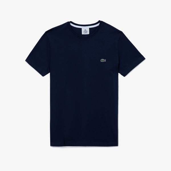 Lacoste L!VE Erkek Bisiklet Yaka Baskılı Lacivert - Beyaz T-Shirt