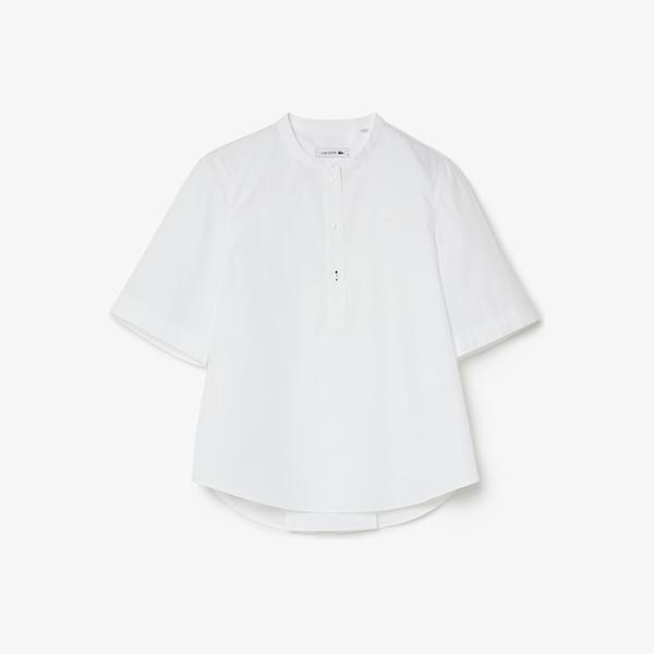 Lacoste Kadın Hakim Yaka Kısa Kollu Beyaz Gömlek