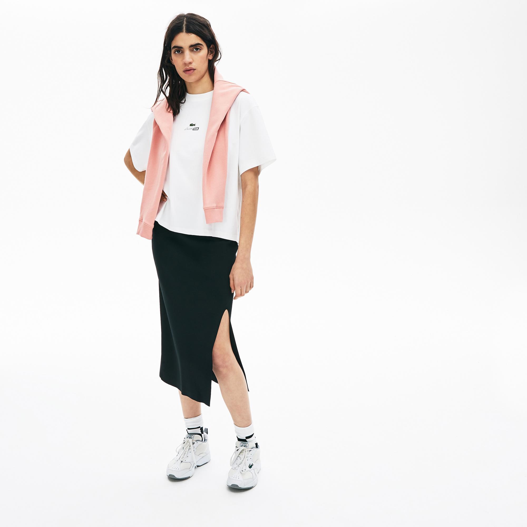 Lacoste L!VE Kadın Bisiklet Yaka Baskılı Beyaz T-Shirt