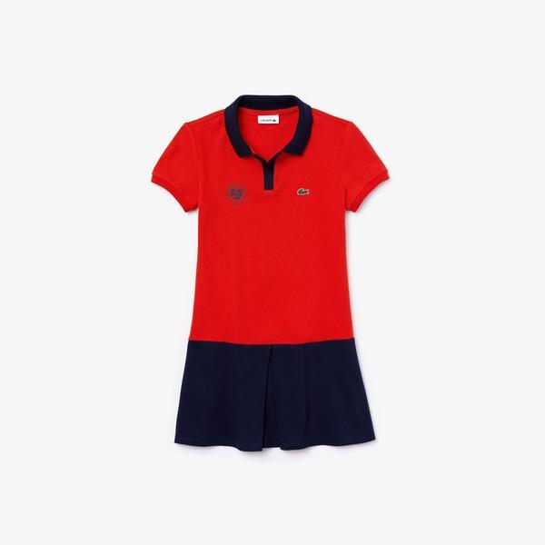 Lacoste Sport Çocuk Polo Yaka Blok Desenli Kısa Kollu Kırmızı - Lacivert Elbise