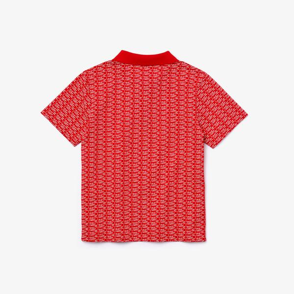 Lacoste Sport Çocuk Baskılı Kırmızı Polo