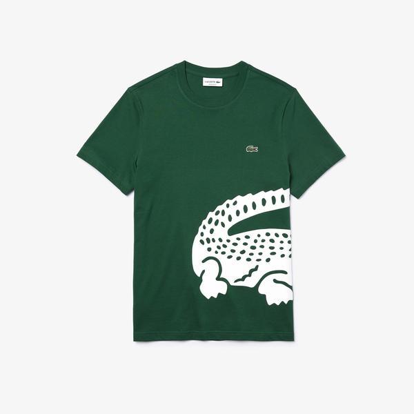 Lacoste Erkek Bisiklet Yaka Timsah Baskılı Yeşil T-Shirt
