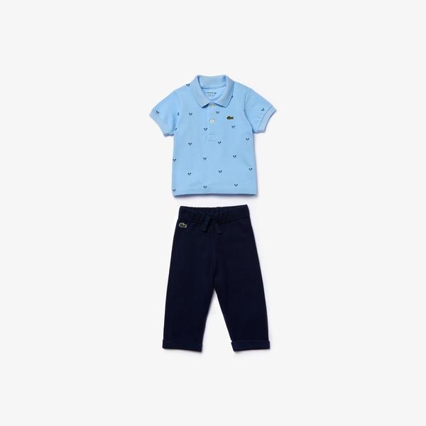 Lacoste Çocuk Desenli Kısa Kollu Mavi Pijama Seti