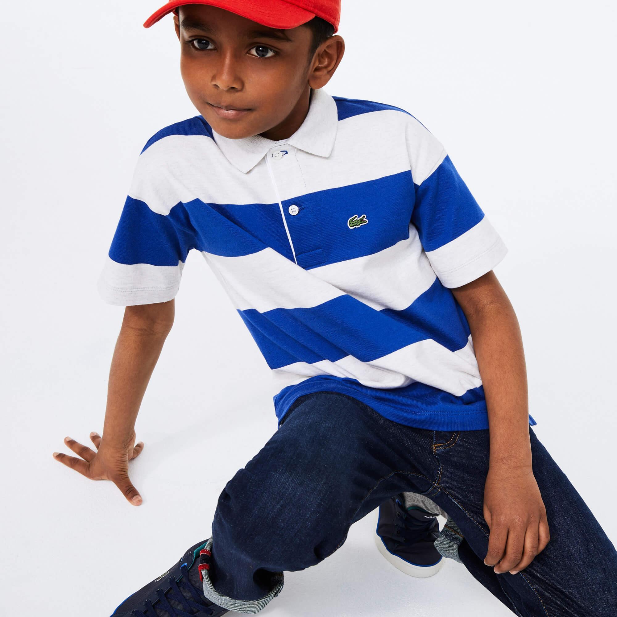 Lacoste Çocuk Çizgili Blok Desenli Lacivert - Beyaz Polo