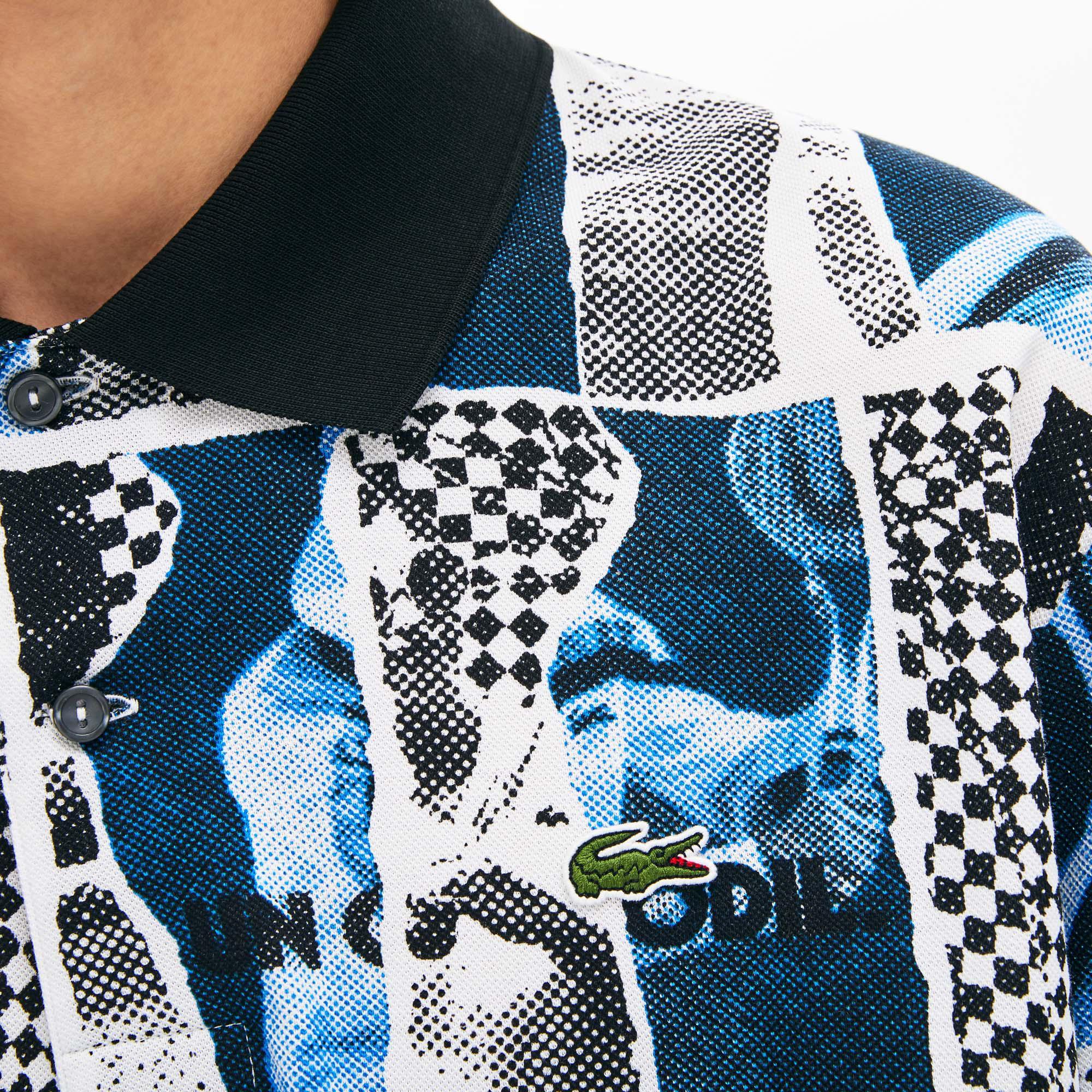 Lacoste L!VE Unisex Regular Fit Desenli Renkli Polo