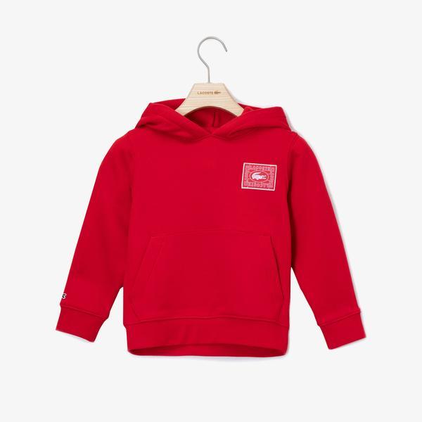 Lacoste Çocuk Kapüşonlu Baskılı Kırmızı Sweatshirt