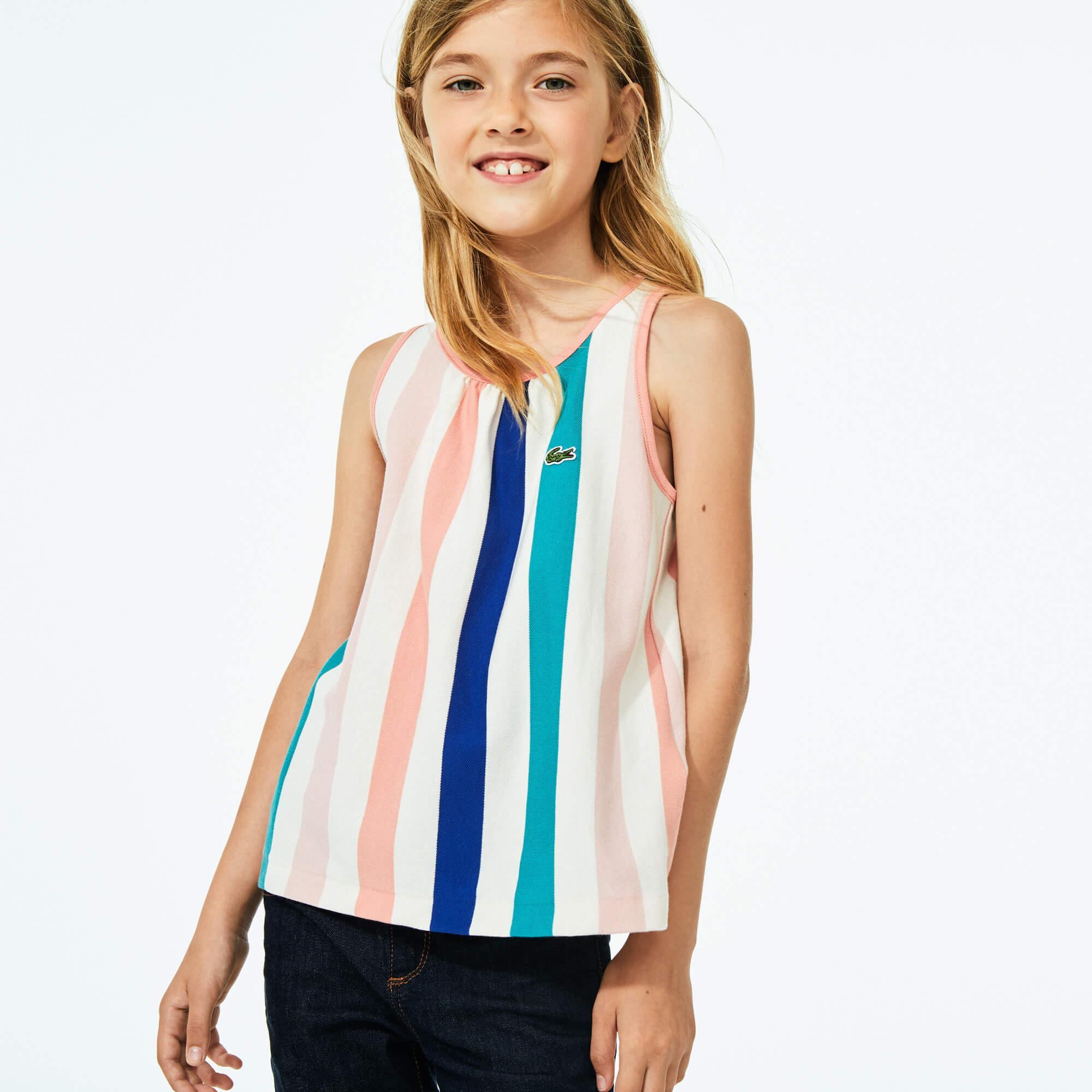 Lacoste Çocuk Bisiklet Yaka Çizgili Kolsuz Renkli T-Shirt