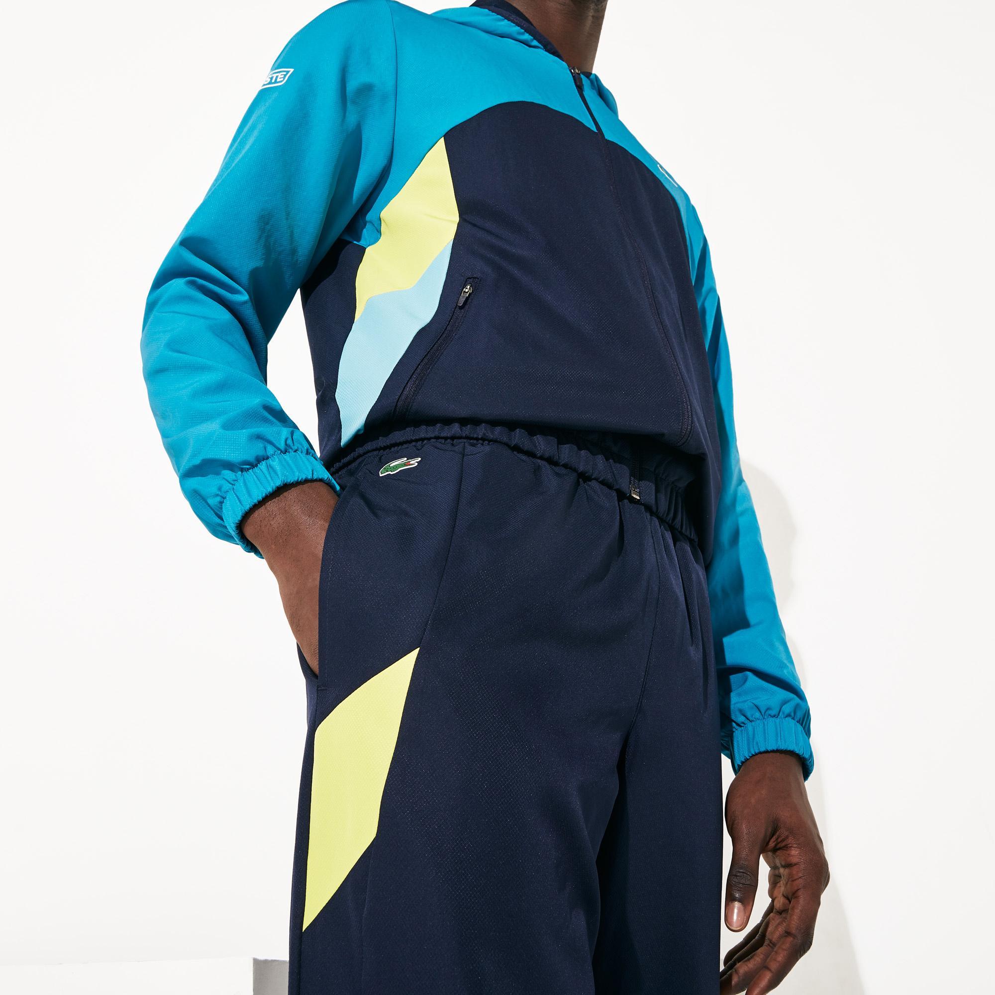 Lacoste Sport Erkek Fermuarlı Blok Desenli Uzun Kollu Renkli Eşofman Takımı