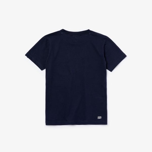 Lacoste Sport Çocuk Bisiklet Yaka Desenli Lacivert T-Shirt