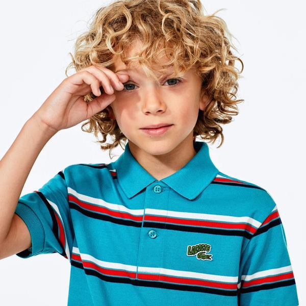 Lacoste Çocuk Baskılı Çizgili Mavi Polo