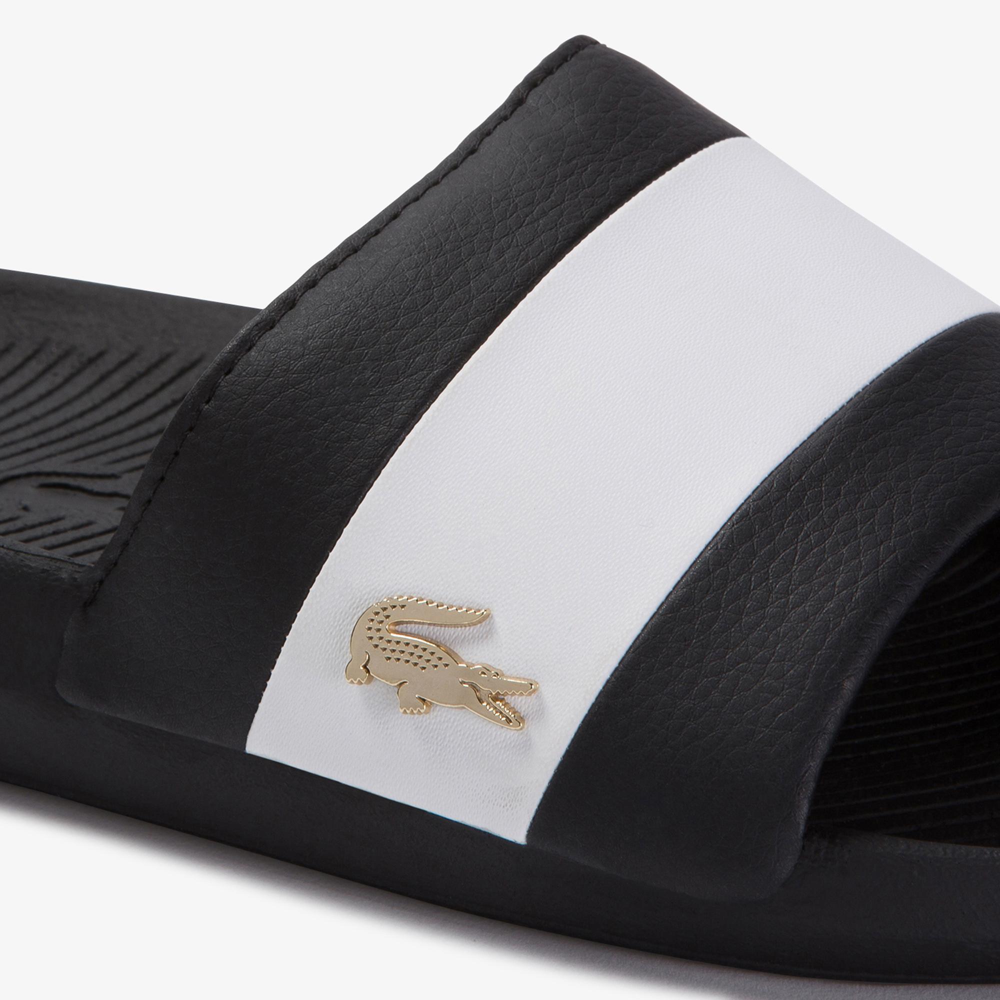 Lacoste Croco Slide 120 3 Us Cma Erkek Siyah - Beyaz Terlik